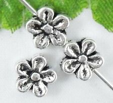 Wholesale 66/145Pcs Tibetan Silver Flower Spacer Beads 7x3mm(Lead-free)