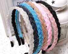 Woman Girl Fashion Rhinestone Crystal Chic Bead Head Chain Headband Hair Band