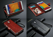 Luxury Leather Flip Wallet Case For Samsung Galaxy Models Free Screen Protector
