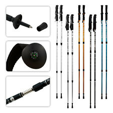 Pair Trekking Hiking Sticks 2 Adjustable Alpenstock Walking Pole Anti-Shock Cane