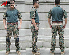 Tactical Military Summer Combat Uniform Shirt Pants w/Knee Pads Digital Woodland