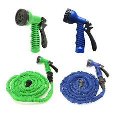 Blue 25 Foot Flexible Expanding Water Garden Hose Anti Kink With Spray Gun