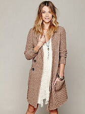NWT FREE PEOPLE BUTTERMILK BISCUIT CHUNKY KNIT SWEATER COAT Mushroom Beige/Taupe