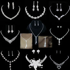 Wedding Bridal Bride Gift Rinestone Crystal Silver Necklace Earrings Jewelry Set