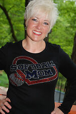 Softball  Mom. Custom rhinestone bling shirt XS S M L XL 2X 3X 4X 5X Heart.