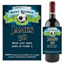 Personalised Football Wine Champagne Bottle Label N53 ~ Great Birthday Gift