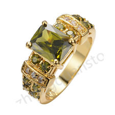 Jewelry Wedding Ring Size 6-12 Green Peridot Men's 10KT Yellow Gold Filled Gift