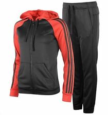 Adidas Ladies Full Tracksuit Outfit Black Zip Hoody, Black Track Pants BRAND NEW
