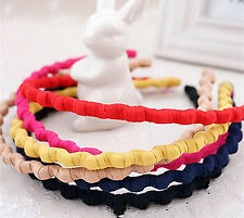 Girls Women School Zigzag Wavy Fashion Sports cotton ouchless Hair head band