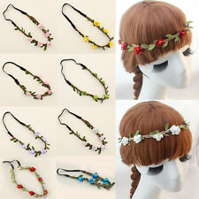 Boho Floral Rose Flower Elastic Girls Hairband Headband Festival Party Wedding