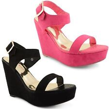 Womens Ladies Dolcis High Platform Wedge Peep Toe Strappy Summer Sandals Shoes
