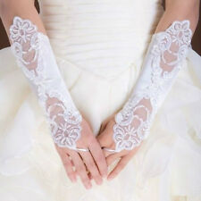White Bride Wedding Dress Fingerless Pearl Lace Satin Bridal Prom Party Gloves