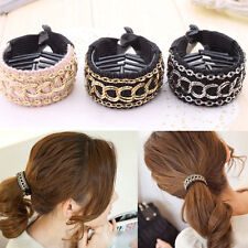 Cute Women Luxury Gold Chain Hair Clip Hair Barrette Ponytail Holder