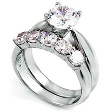 Sterling Silver Wedding set size 9 CZ Round cut Engagement Ring Bridal New w93