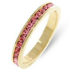 Gold Tourmaline Eternity Ring Pink Swarovski Crystals Stackable Size 8 9 USA