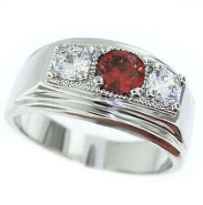 Ruby Red Center & Two Clear CZ Silver Rhodium EP Mens Ring New