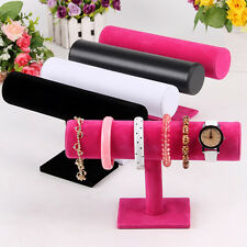 Velvet T-Bar Jewelry Rack Bracelet Necklace Stand Organizer Holder Display