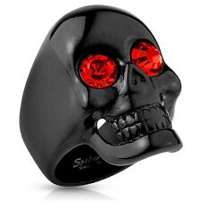 Stainless Steel Men's Rounded Black Skull 1.70 Carat Red CZ Ring 9-15