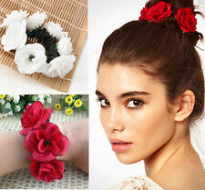 Garland Flower Bun Floral Head Knot Hair Top Scrunchie Band Elastic Bridal