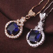 Classic vintage Chain 18k gold filled blue Swarovski crystal Pendant necklace18""