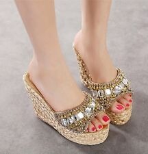 Womens Beads peep toe wedge heels platform espadrilles summer shoe sandals 0783