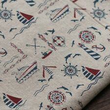 Nautical Boats Pattern Linen Cotton Fabric 100% Vintage Shabby Chic 145 cm Wide