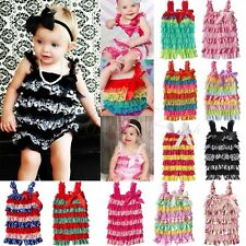 Newborn Baby Toddler Girls Ruffle Lace Petti Sling Rompers Jumpsuit Photo Dress