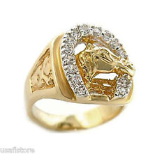 Mens Russian CZ Horseshoe 18kt Gold EP Tutone Ring New