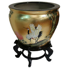Gold Leaf Chinese Oriental Fish Bowl And Stand