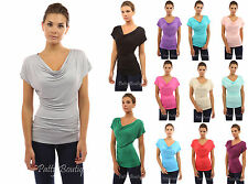 PattyBoutik Simple Cowl Neck Short Sleeve Casual Blouse Top