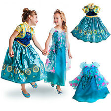 FROZEN FEVER ANNA ELSA PRINCESS  KIDS COSTUME PARTY FANCY GIFT DRESS