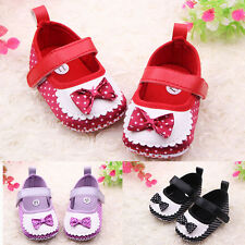 Cute Bowknot Silk Newborn Baby Girls Velcro Toddlers Crib Shoes 0-18M 3 Colors