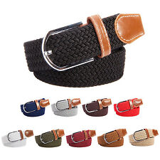 Unisex Elastic Canvas Stretch Braided PU Leather Pin Buckle Waist Belt Band