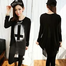 Loose Fit Cross Print Round Neck Long Sleeve Women's Stretch T-shirt Tops Tee