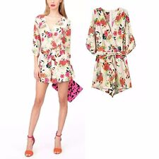 New Womens Summer 3/4 Sleeve Sexy V-Neck Floral Print Shorts Jumpsuits Rompers