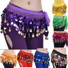 Golden Coins Shining Colorful Sequin Bead Belly Dance Hip Scarf Wrap Belt Skirt