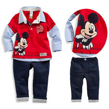 2 pcs Children Baby Kid Boys Clothing set Mickey Mouse Print Outfits Tops+Pants