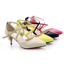 New Women's Synthetic Leather Med Heel Pointed Toes Pumps Sandals Shoes US Size