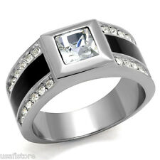 6MM Square Cut Crystal Stone Silver Stainless Steel Mens Ring