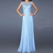 New Lady Chiffon Lace Long Dress Bridesmaid Banquet Gown Evening  Backless Dress