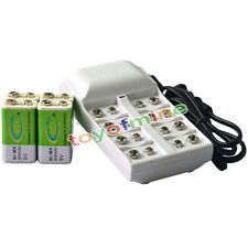 4x 9V 6F22 PPS 300mAh Ni-Mh Rechargeable Battery + 8 Slot Batteries Charger