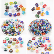 Lots 20/50Pcs Charms Printing Mixed Shape Millefiori Glass Craft Loose Beads
