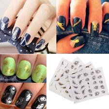 Hot Nail Art DIY Feather Zipper Water Transfers Stickers Nail Decals Decorate