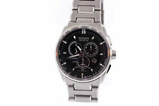 Men's Citizen Eco-Drive Stainless Steel Chronograph Black Dial Watch