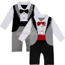 2pcs Toddler Infant Baby Boys Clothes Gentleman Xmas Romper Bodysuit Outfits Set