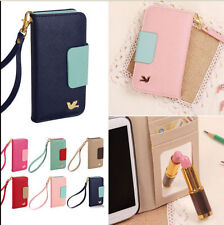 2015 New Wallet Card Holder Pouch Flip PU Leather Phone Case Cover iPhone/Galaxy