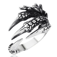 316L Stainless Steel Men's Silver Dragon Claw Blade Biker Ring Size 8,9,10,11,12