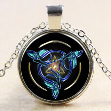Celtic Knot Triquetra Trinity Glass Pendant Chain Irish Necklace Jewelry Gift