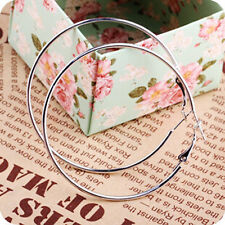 1x 2x Pairs Women White Silver Plated Smooth Large Round Circle Hoop Earrings
