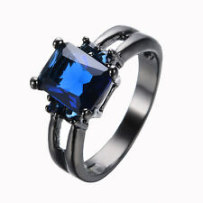 Jewelry Blue Sapphire CZ Wedding Rings Size 6-10 Women's 10Kt Black Gold Filled